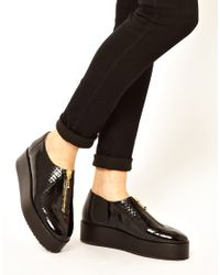 New Kid Black Claude Enigma Flatform Zip Shoes