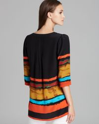 Plenty by Tracy Reese Multicolor Quotation Blouse Painted Stripe Peasant Kurta