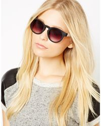 Quay Purple Thick Framed Black Oversized Sunglasses with Contrast White Arm Detail