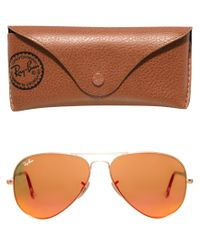 Ray-Ban Metallic Orange Mirror Aviator Sunglasses