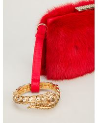 Roberto Cavalli Red Snake Bangle Clutch