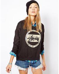 Stussy Black Foil Dot Crew Neck Sweatshirt