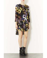 TOPSHOP Blue Neon Poppy Print Tunic Dress