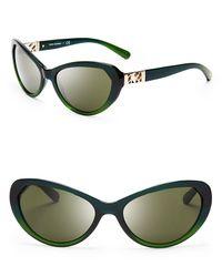 Tory Burch Blue Lattice Temple Cat Eye Sunglasses