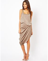 Halston Brown Draped Silk Dress with Embellished Straps