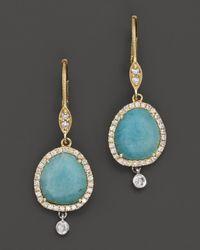 Meira T | Blue Diamond Amazonite Drop Earrings in 14k Yellow Gold | Lyst