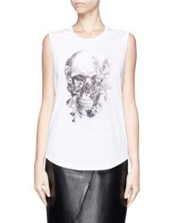 Alexander McQueen - White Floral Skull High-low Cotton Tank Top - Lyst