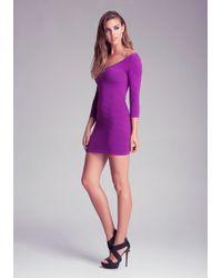 Bebe Purple Double Vneck Shine Chevron Dress