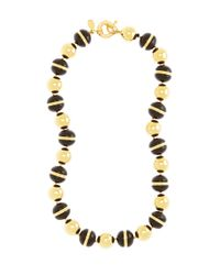 Brooks Brothers | Metallic Gold and Black Bead Collar Necklace | Lyst