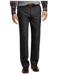 Brooks Brothers - Gray Fitzgerald Fit Plaid Plain-front Dress Trousers for Men - Lyst