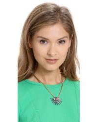 Elizabeth Cole Multicolor Crystal Pendant Necklace