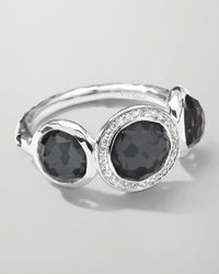Ippolita | Black Stella 3-Doublet Ring In Hematite & Diamonds | Lyst