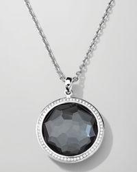 "Ippolita | Metallic Stella Large Lollipop Necklace In Hematite & Diamonds 16-18"" | Lyst"
