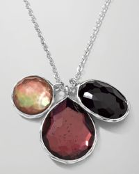 Ippolita | Black Sterling Silver Wonderland 3stone Charm Necklace in Pizzelle 1618 | Lyst