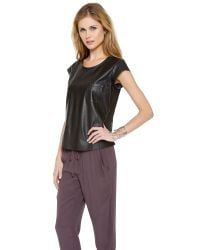 Joie - Black Rancher Leather Top - Lyst