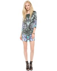 Just Cavalli | Black Printed Stretch-jersey Mini Dress | Lyst