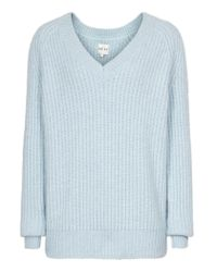 Reiss Blue Willaston Angora V-neck Angora Jumper