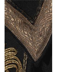Roberto Cavalli Black Brocade Wool Coat