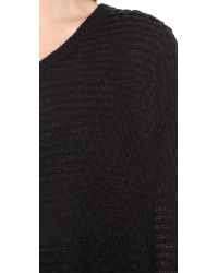 VINCE | Black Textured V Neck Sweater | Lyst