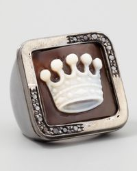 Amedeo - Metallic Diamond-trim Hand-carved Crown Cameo Ring - Lyst