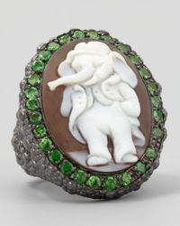 Amedeo Gray Hand-Carved Elephant Cameo Ring