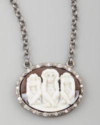 Amedeo Multicolor Diamond-trim Three Wise Monkeys No Evil Cameo Necklace