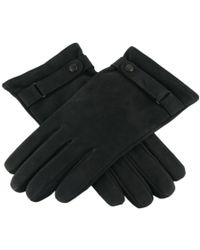 Black.co.uk Black Nubuck Leather Gloves With Strap And Button Detail - Cashmere Lined for men