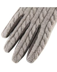 Black.co.uk Gray Brown Cashmere And Leather Gloves With Rabbit Fur Cuff for men