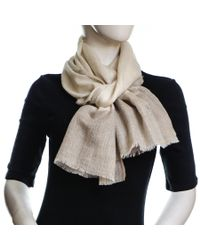 Black.co.uk Natural Cream and Caramel Edged Cashmere Scarf