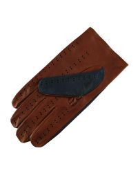Black.co.uk - Blue Navy And Tobacco Italian Leather Driving Gloves for Men - Lyst