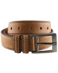Black.co.uk Brown Tan Speckled Leather Belt With Saddle Stitch for men