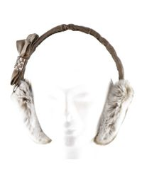 Black.co.uk Brown Taupe Rabbit Fur Earmuffs With Bow