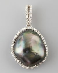 Eli Jewels | Green Gray South Sea Pearl And Diamond Halo Pendant | Lyst