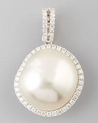 Eli Jewels - White South Sea Pearl And Diamond Halo Pendant - Lyst