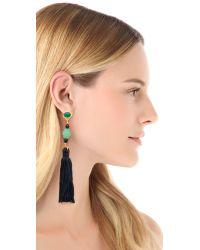 Kenneth Jay Lane - Green Carved Tassel Earrings - Lyst