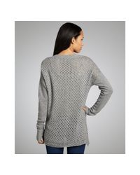 Rebecca Taylor - Gray Heather Grey Wool Blend Perforated Knit Long Sleeve Sweater - Lyst