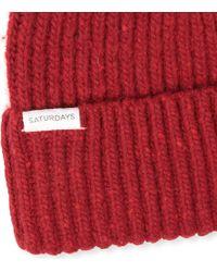 Saturdays NYC Red 2x2 Rib Beanie Hat for men