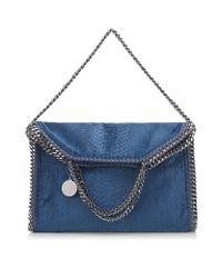 Stella McCartney | Blue Velvet Python Fold Over Bag | Lyst