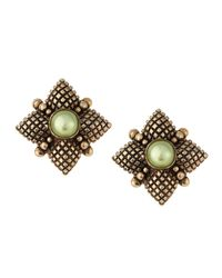 Stephen Dweck - Green Pearl Center Quilted Button Earrings - Lyst