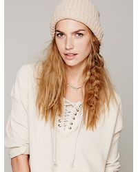 Free People Natural Lace Up Hockey Pullover