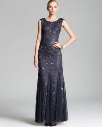 Adrianna Papell Gray Cap Sleeve Beaded Gown