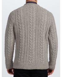 Barbour Gray Cotton Cashmere Cable Knit Jumper for men