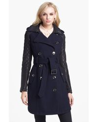 BCBGMAXAZRIA | Blue Quilted Leather Sleeve Trench Coat | Lyst