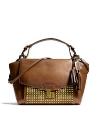 COACH | Brown Legacy Archival Lock Satchel in Studded Leather | Lyst
