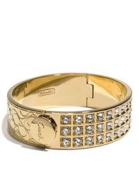 COACH | Metallic Small Beveled Pave Bracelet | Lyst
