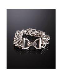 Hermès | Metallic Sterling Silver Rombo Chain Buckle Clasp Bracelet | Lyst