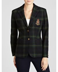 Lauren by Ralph Lauren Black Jacket Plaid Wool Jacket