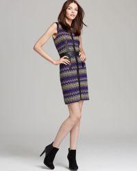 MILLY Purple Dress Zig Zag Tweed Leather Detail