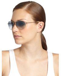 Oliver Peoples - Metallic Benedict 59 Aviator Sunglasses - Lyst