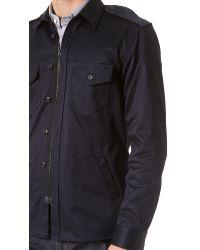 Public School Blue Military Shirt Jacket for men
